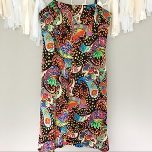 David Meister  Silk Strapless Paisley Dress